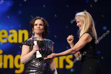 'Shooting Star' Kristin Thora Haraldsdottir (L) from Iceland is seen on stage next to US producer Martha De Laurentiis (R) ahead of the of 'Vice' during the 69th annual Berlin Film Festival, in Berlin, Germany, 11 February 2019. The movie is presented in the Official Competition at the Berlinale that runs from 07 to 17 February.