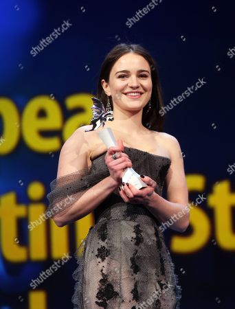 'Shooting Star' Aisling Franciosi (L) from Ireland is seen on stage next to US producer Martha De Laurentiis (R) ahead of the of 'Vice' during the 69th annual Berlin Film Festival, in Berlin, Germany, 11 February 2019. The movie is presented in the Official Competition at the Berlinale that runs from 07 to 17 February.