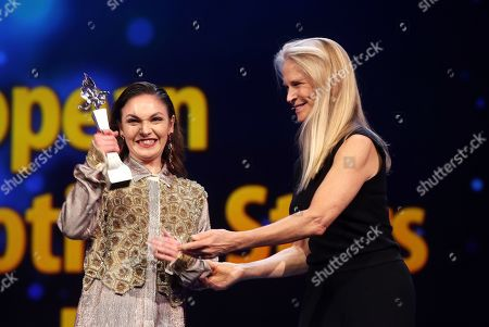 'Shooting Star' Emma Drogunova (L) from Germany is seen on stage next to US producer Martha De Laurentiis (R) ahead of the of 'Vice' during the 69th annual Berlin Film Festival, in Berlin, Germany, 11 February 2019. The movie is presented in the Official Competition at the Berlinale that runs from 07 to 17 February.