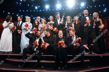 Teona Strugar Mitevska, Macdara Kelleher, Ine Marie Wilmann from Norway, Ardalan Esmail from Sweden, Avy Kaufman, Ingvar Sigurdsson, Emma Drogunova from Germany, Milan Maric from Serbia, Aisling Franciosi from Ireland, Dawid Ogrodnik from Poland, Rea Lest from Estonia, Kristin Thora Haraldsdottir from Iceland, Elliott Crosset Hove from Denmark, Tara Karajica, Blagoj Veselinov from Macedonia and Martha De Laurentiis are seen on stage at the European Shooting Stars 2019 ceremony ahead of the 'Vice' premiere during the 69th annual Berlin Film Festival, in Berlin, Germany, 11 February 2019. The movie is presented in the Official Competition at the Berlinale that runs from 07 to 17 February.