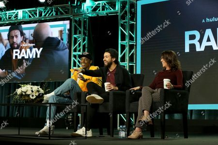 """Jerrod Carmichael, Ramy Youssef, Bridget Bedard. Jerrod Carmichael, from left, Ramy Youssef and Bridget Bedard participate in the """"Ramy"""" panel during the Hulu presentation at the Television Critics Association Winter Press Tour at The Langham Huntington, in Pasadena, Calif"""