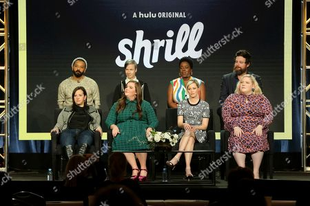 """Ali Rushfield, Ian Owens, Aidy Bryant, John Cameron Mitchell, Elizabeth Banks, Lolly Adefope, Lindy West, Luka Jones. Ali Rushfield, from left, Ian Owens, Aidy Bryant, John Cameron Mitchell, Elizabeth Banks, Lolly Adefope, Lindy West and Luka Jones participate in the """"Shrill"""" panel during the Hulu presentation at the Television Critics Association Winter Press Tour at The Langham Huntington, in Pasadena, Calif"""