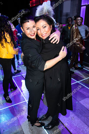 Stock Picture of Hayley Tamaddon (Miss Hedge) and Jessie Wallace backstage