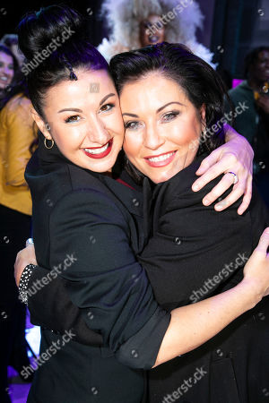 Hayley Tamaddon (Miss Hedge) and Jessie Wallace backstage
