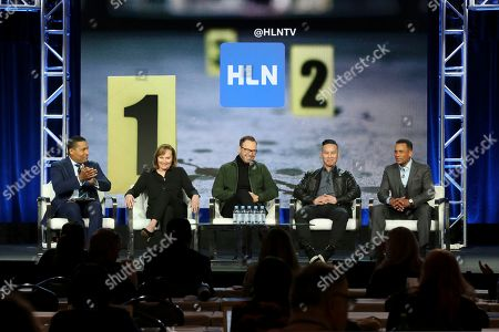 """Joey Jackson, Nancy Duffy, Donnie Wahlberg, BD Wong, Hill Harper. Joey Jackson, from left, Nancy Duffy, Donnie Wahlberg, BD Wong and Hill Harper participate in the """"CNN Headline News"""" panel during the HLN presentation at the Television Critics Association Winter Press Tour at The Langham Huntington, in Pasadena, Calif"""