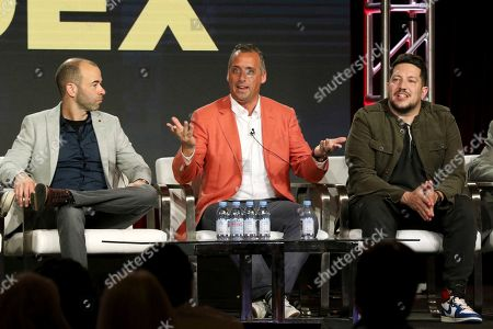"""James Murray, Joe Gatto, Sal Vulcano. James Murray, from left, Joe Gatto and Sal Vulcano participate in the """"The Misery Index"""" panel during the TBS presentation at the Television Critics Association Winter Press Tour at The Langham Huntington, in Pasadena, Calif"""