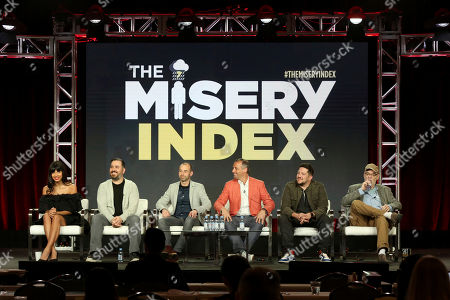 """Jameela Jamil, Brian Quinn, James Murray, Joe Gatto, Sal Vulcano, Andy Breckman. Jameela Jamil, from left, Brian Quinn, James Murray, Joe Gatto, Sal Vulcano and Andy Breckman participate in the """"The Misery Index"""" panel during the TBS presentation at the Television Critics Association Winter Press Tour at The Langham Huntington, in Pasadena, Calif"""