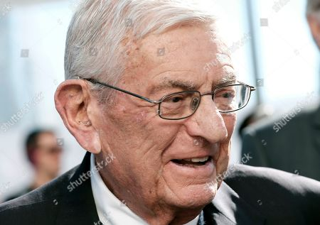 Billionaire philanthropist Eli Broad, arrives for a groundbreaking ceremony for The Grand, a long-delayed massive development in downtown Los Angeles on . Broad told attendees Monday that the project stems from a vision of Grand Avenue becoming the arts, cultural and civic district for the region