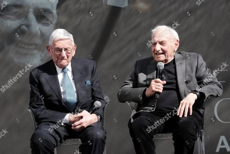 Billionaire philanthropist Eli Broad, left is joined by Architect Frank Gehry during a panel discussion during a groundbreaking ceremony for The Grand, a long-delayed massive development in downtown Los Angeles on . Broad told attendees Monday that the project stems from a vision of Grand Avenue becoming the arts, cultural and civic district for the region