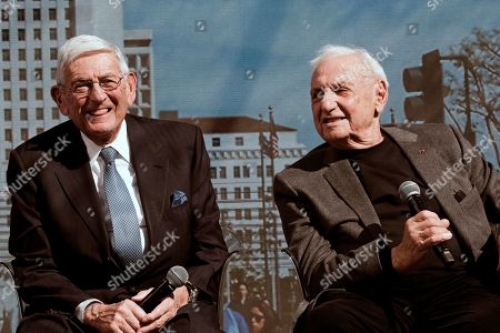 Frank Gehry, Eli Broad. Architect Frank Gehry, right, talks during a panel discussion with Billionaire philanthropist Eli Broad, left prior to a groundbreaking ceremony for The Grand, a long-delayed massive development in downtown Los Angeles on . Broad told attendees Monday that the project stems from a vision of Grand Avenue becoming the arts, cultural and civic district for the region