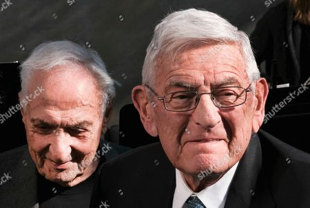 Billionaire philanthropist Eli Broad, right, is joined by architect Frank Gehry during a groundbreaking ceremony for The Grand, a long-delayed massive development in downtown Los Angeles on . Broad told attendees Monday that the project stems from a vision of Grand Avenue becoming the arts, cultural and civic district for the region