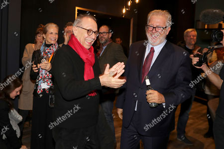 Festival director Dieter Kosslick (L) reacts as he receives the Veriety Award for 'Achievement in International Film' next to Martin Moszkowicz (R) during the 69th annual Berlin Film Festival, in Berlin, Germany, 11 February 2019. The Berlinale runs from 07 to 17 February.