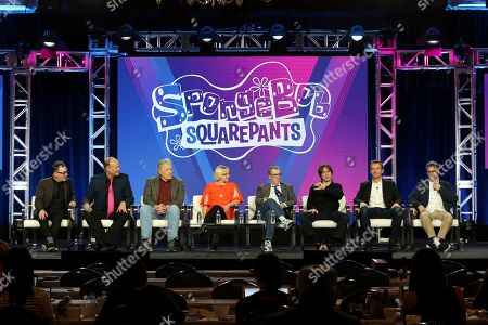 """Tom Kenny, Bill Fagerbakke, Clancy Brown, Carolyn Lawrence, Rodger Bumpass, Mr. Lawrence, Marc Ceccarelli, Vincent Waller. Tom Kenny, from left, Bill Fagerbakke, Clancy Brown, Carolyn Lawrence, Rodger Bumpass, Mr. Lawrence, Marc Ceccarelli and Vincent Waller participate in the """"SpongeBob SquarePants"""" panel during the Nickelodeon presentation at the Television Critics Association Winter Press Tour at The Langham Huntington, in Pasadena, Calif"""