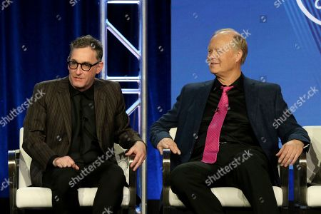 """Tom Kenny, Bill Fagerbakke. Tom Kenny, left, and Bill Fagerbakke participate in the """"SpongeBob SquarePants"""" panel during the Nickelodeon presentation at the Television Critics Association Winter Press Tour at The Langham Huntington, in Pasadena, Calif"""