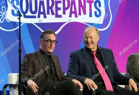 """Tom Kenny, left, and Bill Fagerbakke participate in the """"SpongeBob SquarePants"""" panel during the Nickelodeon presentation at the Television Critics Association Winter Press Tour at The Langham Huntington, in Pasadena, Calif"""
