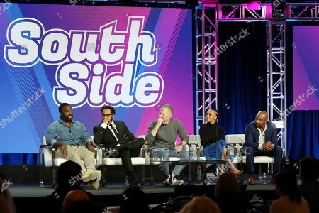 """Stock Photo of Bashir Salahuddin, Diallo Riddle, Michael Blieden, Chandra Russell, Sultan Salahuddin. Bashir Salahuddin, from left, Diallo Riddle, Michael Blieden, Chandra Russell and Sultan Salahuddin participate in the """"South Side"""" panel during the Comedy Central presentation at the Television Critics Association Winter Press Tour at The Langham Huntington, in Pasadena, Calif"""