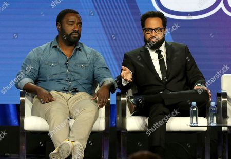 """Bashir Salahuddin, Diallo Riddle. Bashir Salahuddin, left, and Diallo Riddle participate in the """"South Side"""" panel during the Comedy Central presentation at the Television Critics Association Winter Press Tour at The Langham Huntington, in Pasadena, Calif"""