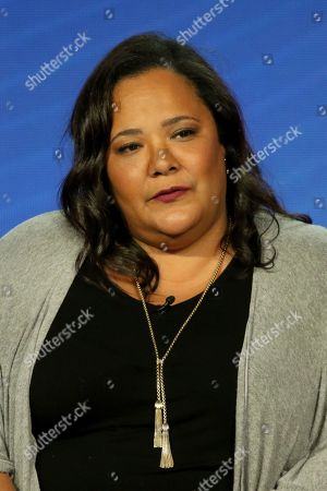 "Stock Photo of Dream Hampton participates in the ""Finding Justice"" panel during the BET presentation at the Television Critics Association Winter Press Tour at The Langham Huntington, in Pasadena, Calif"