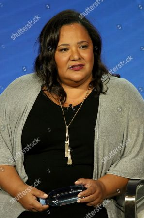 "Stock Picture of Dream Hampton participates in the ""Finding Justice"" panel during the BET presentation at the Television Critics Association Winter Press Tour at The Langham Huntington, in Pasadena, Calif"