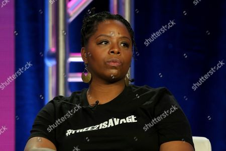 """Stock Picture of Patrisse Cullors participates in the """"Finding Justice"""" panel during the BET presentation at the Television Critics Association Winter Press Tour at The Langham Huntington, in Pasadena, Calif"""