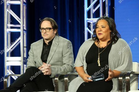 "David Leepson, Dream Hampton. David Leepson, left, and Dream Hampton participates in the ""Finding Justice"" panel during the BET presentation at the Television Critics Association Winter Press Tour at The Langham Huntington, in Pasadena, Calif"