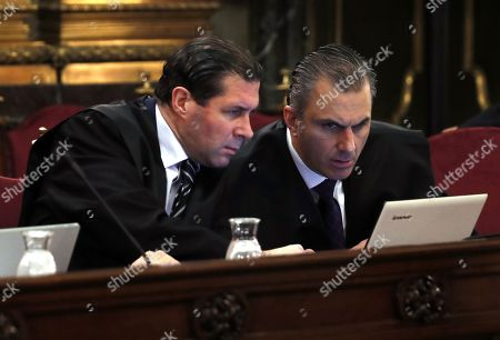 Secretary General of the far right party Vox, Javier Ortega Smith (R), and the party's Judicial Secretary, Pedro Fernandez (L), attend as private prosecution the so-called 'process' trial against 12 Catalan pro-independence politicians involved in the illegal referendum held back in 2017, at the Supreme Court in Madrid, Spain, 12 February 2019. The trial against the Catalan politicians involved in the illegal pro-independence referendum kicks off in the Spanish capital with nine of the pro-independence leaders being accused of rebellion and embezzlement for their role in the Catalan illegal independence referendum back in 2017, while the other three face disobedience charges. More than 500 people have been called to testify, some of them former members of the Spanish Government such as former Prime Minister Mariano Rajoy.