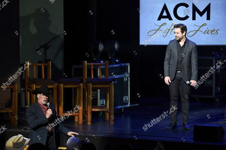Arnold Schwarzenegger, Charles Esten. Arnold Schwarzenegger, left, and Charles Esten participate in ACM Lifting Lives Presents: Borderline Strong at the The Fred Kavli Theatre, in Thousand Oaks, Calif
