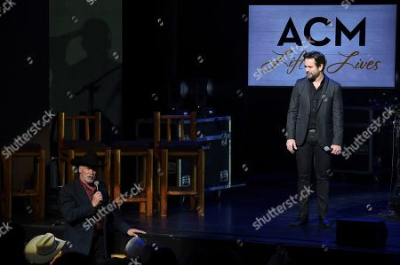 Arnold Schwarzenegger, Charles Esten. Arnold Schwarzenegger, left, and Charles Esten participate in ACM Lifting Lives Presents: Borderline Strong at the The Fred Kavli Theatre on Monday, Feb.11, 2019, in Thousand Oaks, Calif