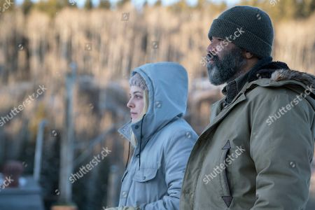 Riley Keough as Medora Slone and Jeffrey Wright as Russell Core