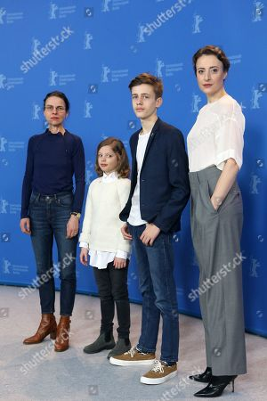 Angela Schanelec with actors Clara Moeller, Jakob Lassalle and Maren Eggert pose during the photocall of 'I Was At Home, But' (Ich war zuhause, aber) during the 69th annual Berlin Film Festival, in Berlin, Germany, 12 February 2019. The movie is presented in the Official Competition at the Berlinale that runs from 07 to 17 February.