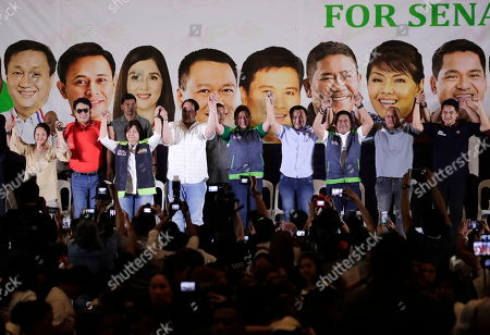 Stock Image of Former president Gloria Macapagal-Arroyo (L) and President Rodrigo Duterte daughter Sara (C) lead the launching of administration senatorial election campaign in Angeles city, Pampanga province, Philippines, 12 February 2019. The 90 day campaign period for national candidates has officially begun with over 60 senatorial candidates and 150 party-list groups running.