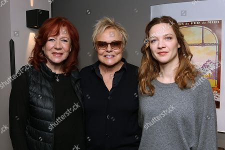 Stock Image of Eva Darlan, Muriel Robin and Odile Vuillemin during a press conference about Violence against Women