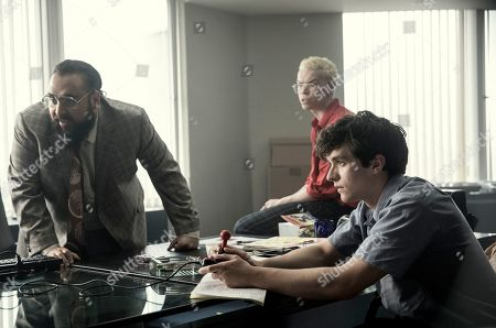 Stock Photo of Asim Chaudhry as Mohan Thakur, Will Poulter as Colin Ritman and Fionn Whitehead as Stefan Butler