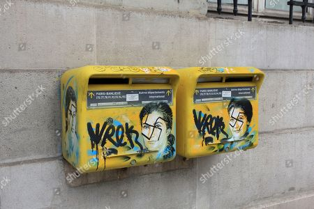 On and provided by the Paris city hall of the XIIIth district shows mailboxes with swastikas covering the face of the late Holocaust survivor and renowned French politician, Simone Veil, in Paris, France. According to French authorities, the total of registered anti-Semitic acts rose to 541 in 2018 from 311 in 2017, a rise of 74 percent