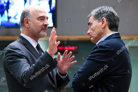 Stock Image of Pierre Moscovici, Euclid Tsakalotos