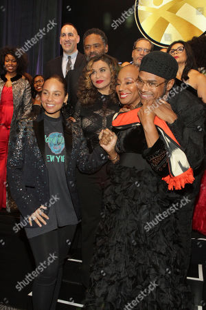 (L-R) Recording Artist Alicia Keys (Honorary Gala Chair), Tina Knowles, Susan Taylor, Maxwell, Dr. Michael Eric Dyson, Rev. Dr. Marcia Dyson and others