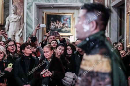 The artist Liu Bolin for the celebration of the Chinese new year portrays himself near the painting ' Saint Gerolamo' by Caravaggio in the Borghese Gallery