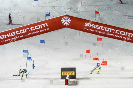 Michael Matt of Austria (L) and Daniel Yule of Switzerland (R) in action during the final of the Alpine Team Event at the FIS Alpine Skiing World Championships in Are, Sweden, 12 February 2019.