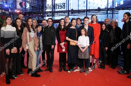 Cast and crew including German actress Maren Eggert (5-R), Clara Moeller (7-R), Jakob Lassalle (6-R) and German director Angela Schanelec (C) arrive for the premiere of 'I Was At Home, But' (Ich war zuhause, aber) during the 69th annual Berlin Film Festival, in Berlin, Germany, 12 February 2019. The movie is presented in the Official Competition at the Berlinale that runs from 07 to 17 February.