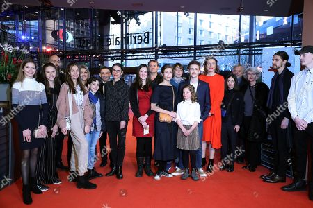 Cast and crew including German actress Maren Eggert (6-R), Clara Moeller (8-R), Jakob Lassalle (7-R) and German director Angela Schanelec (C) arrive for the premiere of 'I Was At Home, But' (Ich war zuhause, aber) during the 69th annual Berlin Film Festival, in Berlin, Germany, 12 February 2019. The movie is presented in the Official Competition at the Berlinale that runs from 07 to 17 February.