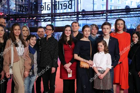 Cast and crew including German actress Maren Eggert (R), Clara Moeller (3-R), Jakob Lassalle (2-R) and German director Angela Schanelec (C) arrive for the premiere of 'I Was At Home, But' (Ich war zuhause, aber) during the 69th annual Berlin Film Festival, in Berlin, Germany, 12 February 2019. The movie is presented in the Official Competition at the Berlinale that runs from 07 to 17 February.