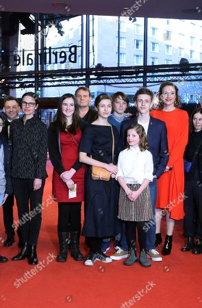 Cast and crew including German actress Maren Eggert (R), Clara Moeller (3-R), Jakob Lassalle (2-R) and German director Angela Schanelec (L) arrive for the premiere of 'I Was At Home, But' (Ich war zuhause, aber) during the 69th annual Berlin Film Festival, in Berlin, Germany, 12 February 2019. The movie is presented in the Official Competition at the Berlinale that runs from 07 to 17 February.