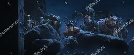 Tuffnut (Justin Rupple), Ruffnut (Kristen Wiig), Eret (Kit Harington), Snotlout (Jonah Hill), Valka (Cate Blanchett), Fishlegs (Christopher Mintz-Plasse) and Fishmeat