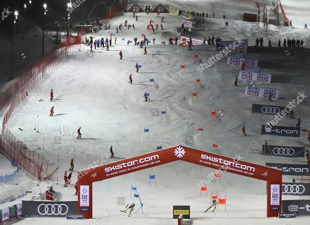 Stock Picture of Austria's Michael Matt beats Switzerland's Daniel Yule during the team event, at the alpine ski World Championships in Are, Sweden