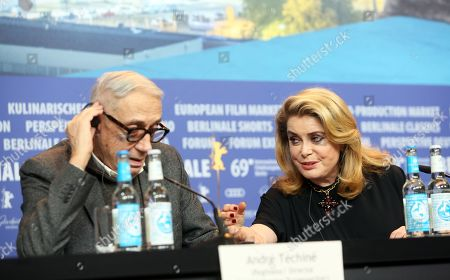 Catherine Deneuve (R) and French director Andre Techine (L) attend the press conference of 'Farewell to the night' (L'Adieu a la nuit) during the 69th annual Berlin Film Festival, in Berlin, Germany, 12 February 2019. The movie is presented in the Official Competition at the Berlinale that runs from 07 to 17 February.