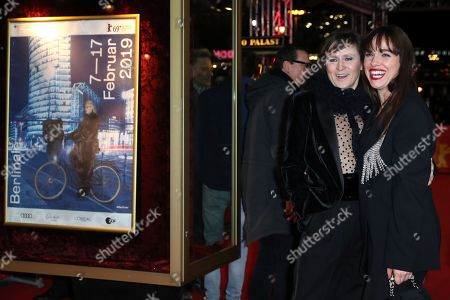 Stock Picture of Sophie Rois (L) and Verena Altenberger arrive for the premiere of 'M - A City Hunts a Murderer' (M - Eine Stadt sucht einen Moerder) during the 69th annual Berlin Film Festival, in Berlin, Germany, 12 February 2019. The movie is presented in the Berlinale Special Section at the Berlinale that runs from 07 to 17 February.