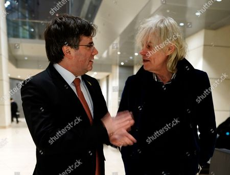Bob Geldof (R) and Former Catalan regional President Carles Puigdemont (L) attend the Cinema For Peace Dinner at the Reichstag on the sidelines of the 69th annual Berlin Film Festival, in Berlin, Germany, 12 February 2019. Berlinale runs from 07 to 17 February.