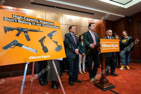 Democratic Senators Richard Blumenthal from Connecticut (L), Chris Murphy from Connecticut (C), and Bob Menendez from New Jersey (C-R) speak at a news conference on legislation to ban high-capacity magazines in the US Capitol in Washington, DC, USA, 12 February 2019. Their push comes near the one-year anniversary of the deadly shooting at Florida's Parkland High School.