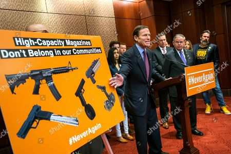 Democratic Senators Richard Blumenthal from Connecticut (C) and Bob Menendez from New Jersey (C-R) speak at a news conference on legislation to ban high-capacity magazines in the US Capitol in Washington, DC, USA, 12 February 2019. Their push comes near the one-year anniversary of the deadly shooting at Florida's Parkland High School.