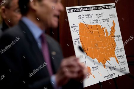 Sen. Richard Blumenthal, D-Conn., speaks at a news conference on an proposed amendment to ban high capacity magazines in guns, on Capitol Hill, in Washington